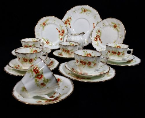Antique Edwardian J H Cope & Co Wellington China Tea Set For 6 People / Trio's